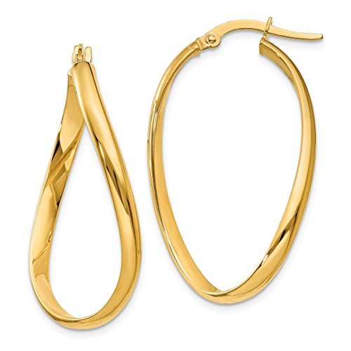 ICE CARATS 14k Yellow Gold Twisted Oval Hoop Earrings Ear Hoops Set Fine Jewelry Gift Set For Women Heart - 14k Gold Twisted Hoop Earrings