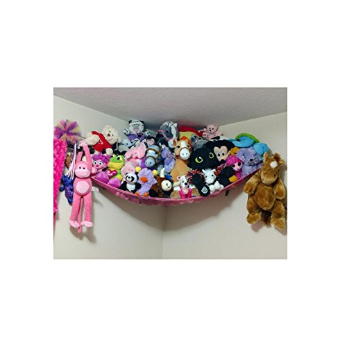 Powkoo Jumbo Toy Hammock Stuffed Toys Storage Hammock Net Organizer for Stuffed Animals, Teddies, Nursery Play(72 x 48 x 48 inches) (Pink)