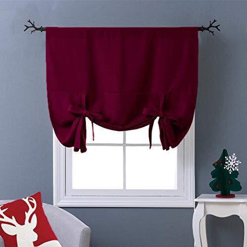 NICETOWN Burgundy Tie-Up Shade Curtain - Window Treatment Balloon Valance Drape for Kitchen Window on Christmas Day (Rod Pocket Panel, 46 W x 63 L)