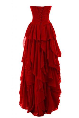 da donna Sweetheart per Gowns basso scollo Pageant abiti Red da sera lo Hi Sunvary Romantic lungo 0qUwYqp