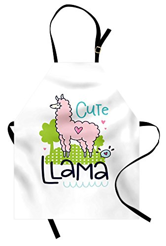Ambesonne Llama Apron, Cute Llama Pattern with Abstract Color Palette Cartoon Character Design Pink Animal, Unisex Kitchen Bib Apron with Adjustable Neck for Cooking Baking Gardening, Multicolor by Ambesonne