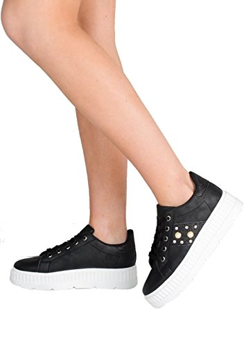 Lily's Boutique Women's Shoes Pearl Glitter Flatform Lace Up Trainers Black djlpM6zQa