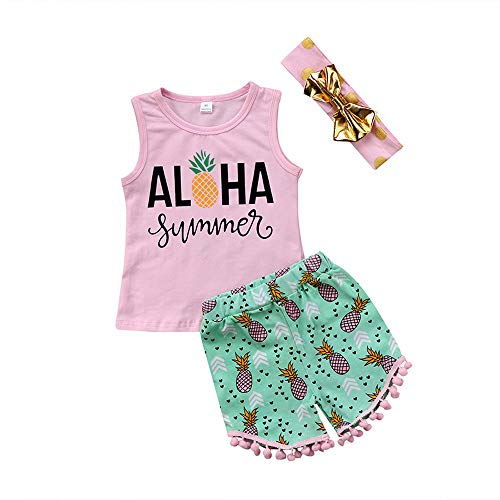 Toddler Little Girls Aloha Pineapple Print Vest Tops and Pompom Shorts with Headband 3PCS Clothes Set (3PCS Aloha Vest Tops+Pineapple Print Tassel Shorts, 2-3 Years) ()