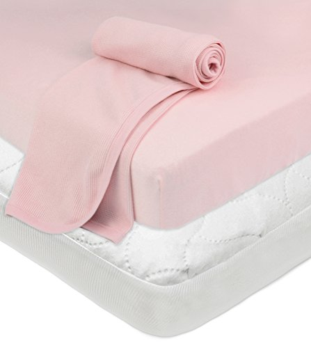 American Baby Company Crib and Toddler Bundle,Mattress PadCover,Fitted Sheet, Thermal Blanket, Pink