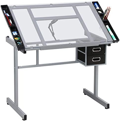 Yaheetech Adjustable Drafting Table Drawing Desk Art Desk Table Art Craft Station Study Table Tempered Glass Top w 2 Slide Rolling Wheels and Drawer