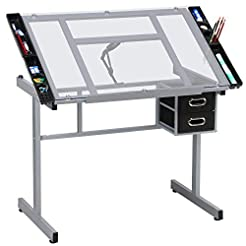 Yaheetech Adjustable Drafting Table Draw...