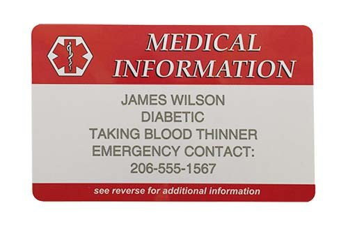Emergency Information Medical Wallet Card - Custom Engraved with Your (Medical Id Wallet Card)