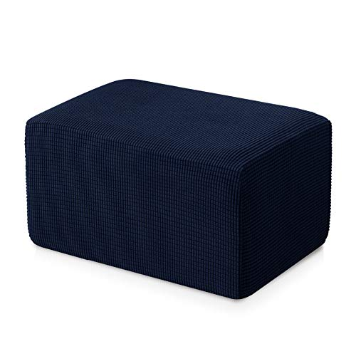 Subrtex Stretch Storage Ottoman Slipcover Protector Spandex Elastic Rectangle Footstool Sofa Slip Cover for Foot Rest Stool Furniture in Living Room (Oversize, ()