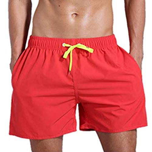 Mens Athletic Shorts Solid Quick Dry Training Running Beach Shorts Lightweight Casual Short Pant with Pocket Red