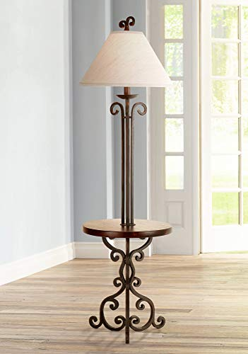 Tray Lamp Wood Floor - Traditional Floor Lamp with Table Iron Rust Scroll Wooden Off White Flared Bell Shade for Living Room Reading