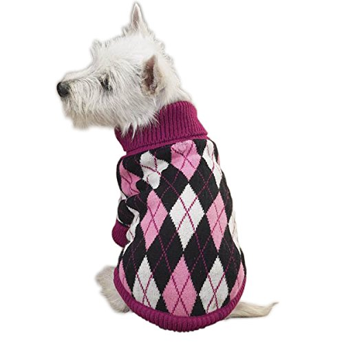 East Side Collection Acrylic Andover Argyle Dog Sweater, XX-Small, 8-Inch, Black/Pink