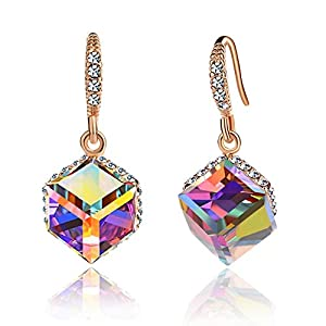 Colorful Cube Swarovski Crystal Earrings for Women 14K Gold Plated Color Changing Drop Earrings (Mix Color)