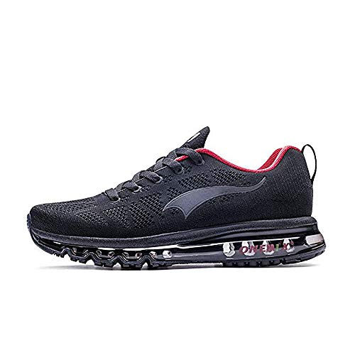 Cushion Sneakers - ONEMIX Men's Lightweight Air Cushion Outdoor Sport Running Shoes Black/Red 11.5(M) US