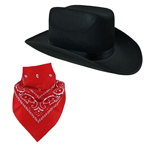 Cowboy Hat for Adults - Felt Cowboy Hats w/ Paisley Bandana by Funny Party Hats (Cowgirl Costume Women)