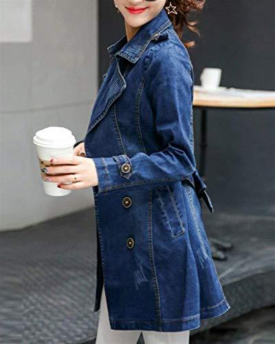 Slim Fit Moda Jeans E Cappotto Sezioni Outerwear Autunno Vita Giovane Lunghe Alta Fresco Cose Stlie Outwear Jacket Blau Button Grazioso Giacche Donna XUEHqY