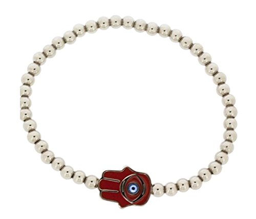 Ben and Jonah Stainless Steel Expandable Bead Red Hamsa Bracelet with Stone