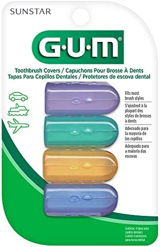 GUM Anti-Bacterial Toothbrush Covers For Travel or Home