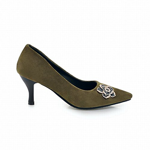Mee Shoes Women's Chic Slip On Pointed Toe Court Shoes Green 5b0Ax6sq