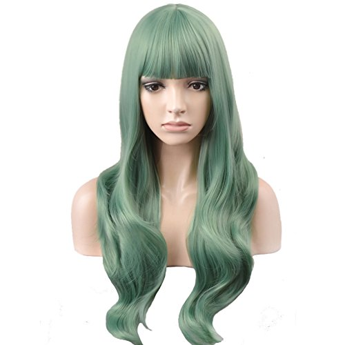 BERON Long Wavy Soft Synthetic Wig with Straight Bangs for Women Girls Wig Cap Included (Mint Green)]()