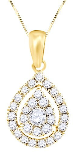 Round Cut White Natural Diamond Pear Shape Pendant Necklace In 14k Yellow Gold (0.35 (Diamond Pear Shape Pendant)