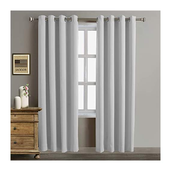 "Rose Home Fashion Blackout Curtains Thermal Insulated Room Darknening Draperies 84 Inch Blackout Window Curtain Panels, 2 Pieces Blackout Curtains for Bedroom/Living Room, W52 x L84, Greyish White - Ready To Hang-Package includes 2 panel with 52"" wide x 84"" length in color Greyish White. Innovative fabric-This blackout curtains can significant reduce light. The darker the color, the better the light reducing capabilities. Features Sliver Grommet Top - Can be hung from a standard or decorative curtain rod. - living-room-soft-furnishings, living-room, draperies-curtains-shades - 41SHeUrl6GL. SS570  -"