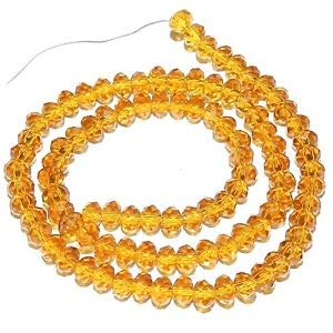 Steven_store CR145 Golden Topaz Yellow 4mm Faceted Rondelle Cut Crystal Glass Beads 72pc Making Beading Beaded Necklaces Yoga Bracelets