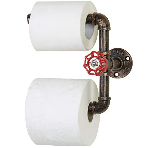 MyGift Wall Mounted Bronze Industrial Pipe Faucet Design Dual Toilet Paper Roll Holder