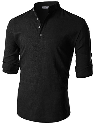 Ohoo Mens Slim Fit Summer Cool Cotton Linen Blend Long Sleeve Popover ()