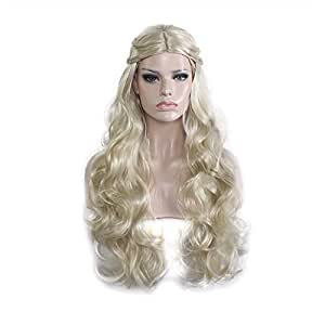 Milidiso Cosplay Wig for Game of Thrones, Khaleesi Costume Wig Daenerys Targaryen Wig for Women Gold M019