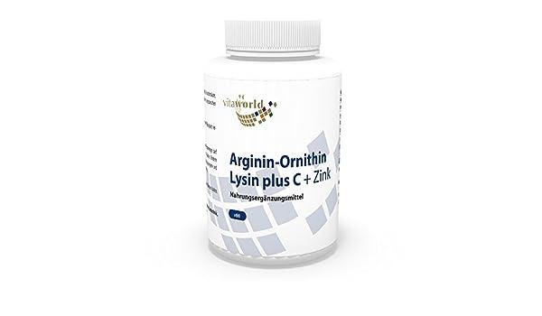 Arginina - Ornitina - Lisina + Vitamina C & Zinc 60 Cápsulas Vita World Farmacia Alemania - Aminoácidos: Amazon.es: Salud y cuidado personal