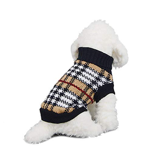 LAWOHO Dog Sweater Pet Knitted Costume Dog Warm Holiday Festival Xmas Outfit Clothes Hoodies Coats for Dogs Puppies Kittens Cats, X-Large Classic Brown -