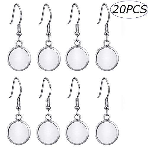 ABBECIAO 20 Pieces Earring Wire Hook Fit 12mm Cabochon Settings Stainless Steel Earring Trays Sets for Jewelry Making Blanks