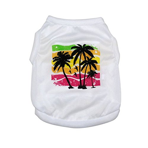 White Dog Tank (Scheppend White Polyester Coconut Palm Printed Dog Tank Top Shirt Pet Clothes for Spring and Summer,XS)