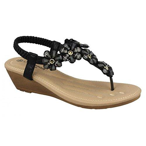 Savannah Wedge Sandals Black Ladies Mid Flower Trim Toepost Womens Synthetic tqr7wat