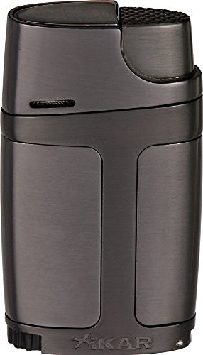 Xikar ELX Double Jet Flame Lighter with Cigar Punch, Ergonomic Design, G2 Gunmetal
