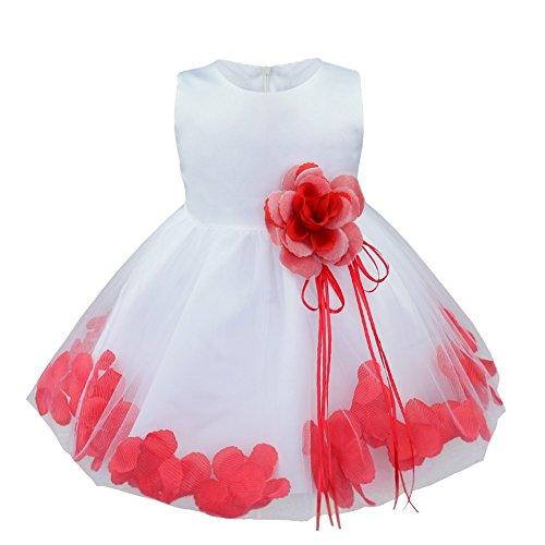 iiniim Baby Girls Petals Tulle Pageant Wedding Party Flower Girl Dress Red 18-24 Months ()