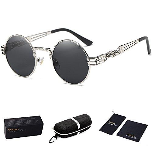 - Dollger John Lennon Round Sunglasses Steampunk Metal Classic Frame Mirror Lens(C1:Black Lens+ Silver Frame)
