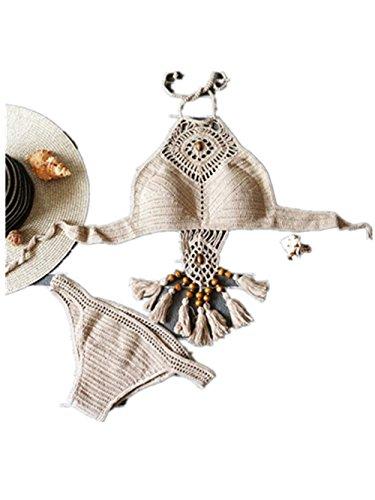 zolimx Bohemio a mano punto traje de baño Bikini traje de baño playa Split con flecos Caqui