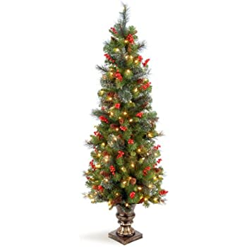 national tree 5 foot crestwood spruce entrance tree with silver bristles cones red berries - 5 Foot Christmas Tree