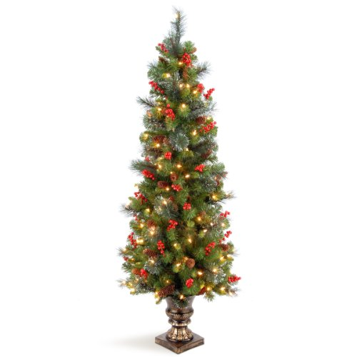 National Tree 5 Foot Crestwood Spruce Entrance Tree with Silver Bristles, Cones, Red Berries and 150 Clear Lights in Decorative Urn (CW7-306-50)