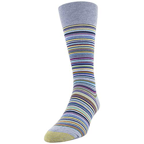 (Gold Toe Men's Fashion Dress Crew Socks, 1 Pair, Sky Blue Frankie stripe, Shoe Size: 6-12.5 )