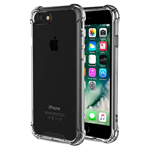 Case Compatible with iPhone 8 and iPhone 7, 4.7-Inch,Crystal Clear Shock Absorption Technology Bumper Soft TPU Cover Case,Shock-Absorption Bumper Cover, Anti-Scratch Clear Back-Cleagray