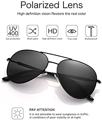 LUENX Aviator Sunglasses Mens Women Polarized Black Lens Black Metal Frame Dark 60mm with Case