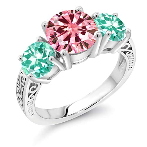Gem Stone King 925 Sterling Silver 3-Stone Ring Round Pink Created Moissanite and Apatite Blue 1.90ct (DEW) (Size 6)