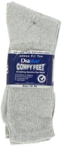 Diastar Comfy Feet Diabetic Socks, Grey, 13-15, 3 pack by Diastar