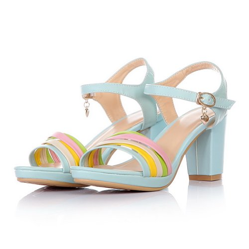 VogueZone009 Womens Open Toe High Heel Chunky Heels Platform PU Assorted Colors Sandals with Metal Blue 64MiCI