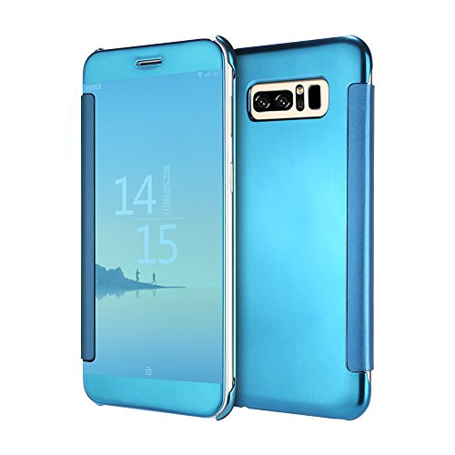 Samsung Galaxy Note 8 Clear View Standing Cover Funda, Vandot Smart Sleep / Wake Up S-View Electroplating Mirror PC y PU Cuero Flip Funda Folio Ultra Slim Thin Full Body Funda Protectora con Kickstand Flip Cielo Azul