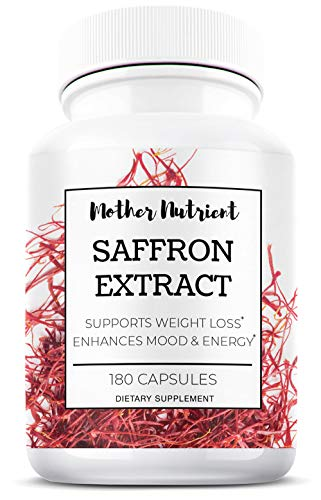 Saffron Supplement 100% Pure Saffron Extract - Crocus Sativus | 180 Capsules | Natural Hunger Suppressant and Appetite Control, Eye Health, Mood Booster Supplement, May Help Avoid Macular Degeneration