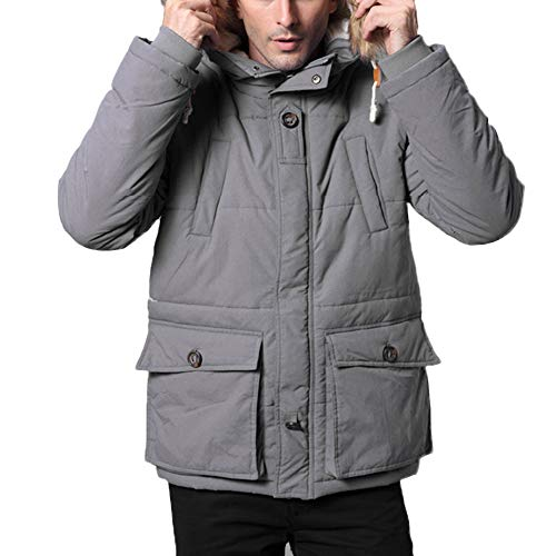 WOCACHI Mens Long Thickened Down Jacket Cotton Padded Outwear Hooded Warm Coat