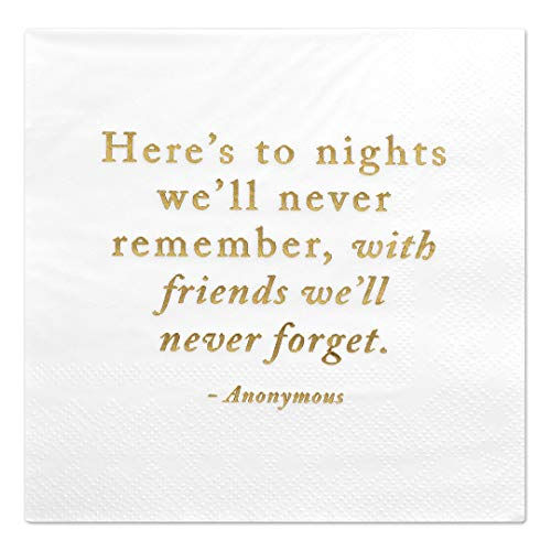 - Andaz Press Here's to Nights, Funny Quotes Cocktail Napkins, Gold Foil, Bulk 50-Pack Count 3-Ply Disposable Fun Beverage Napkins for Birthday Party, Holiday, Christmas, New Year's Eve Bar